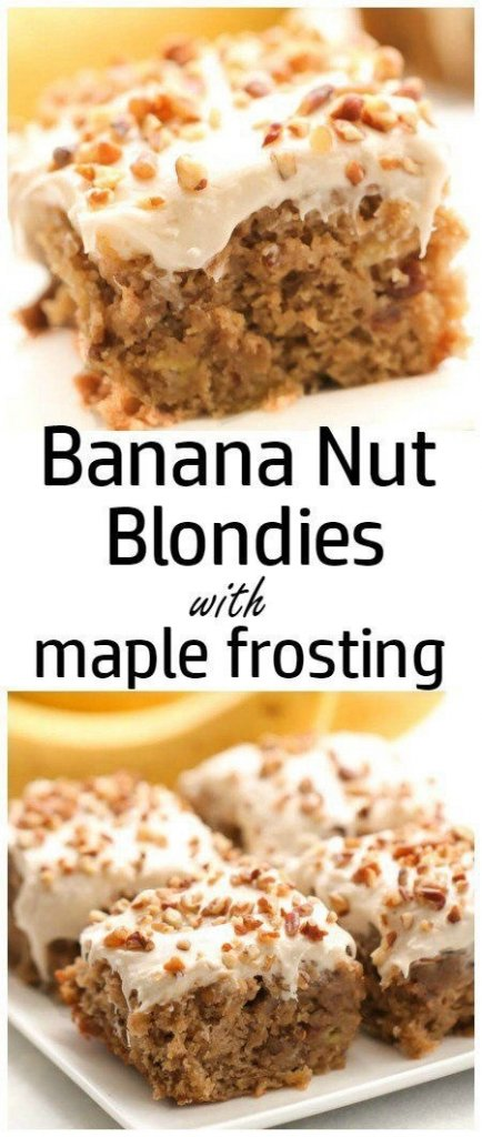 Banana Nut Blondies with Maple Frosting