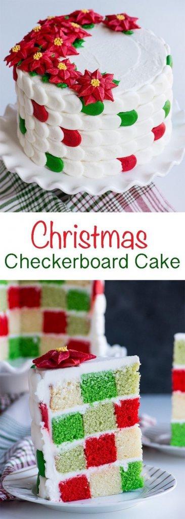 Christmas Checkerboard Cake