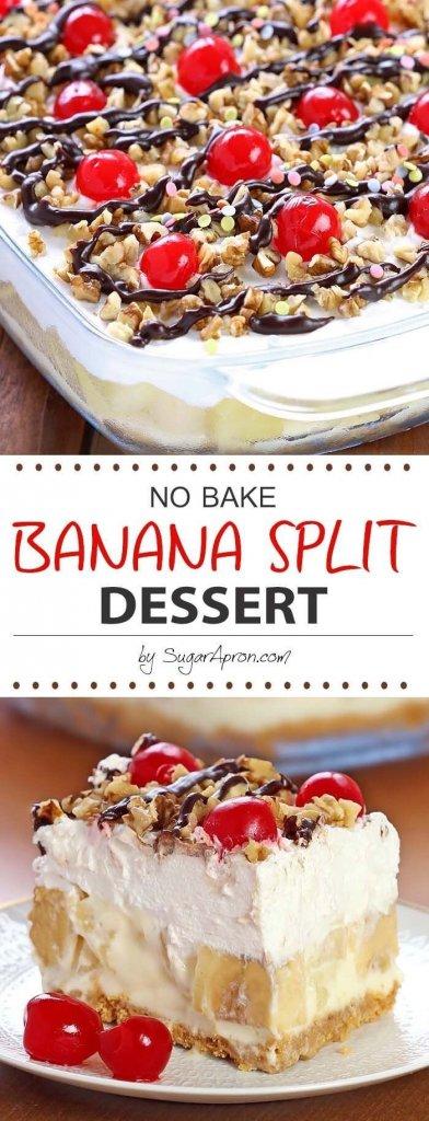 No Bake Banana Split Dessert