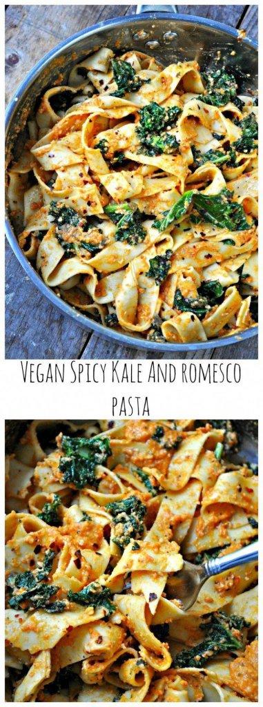 Vegan Spicy Kale and Romesco Pasta