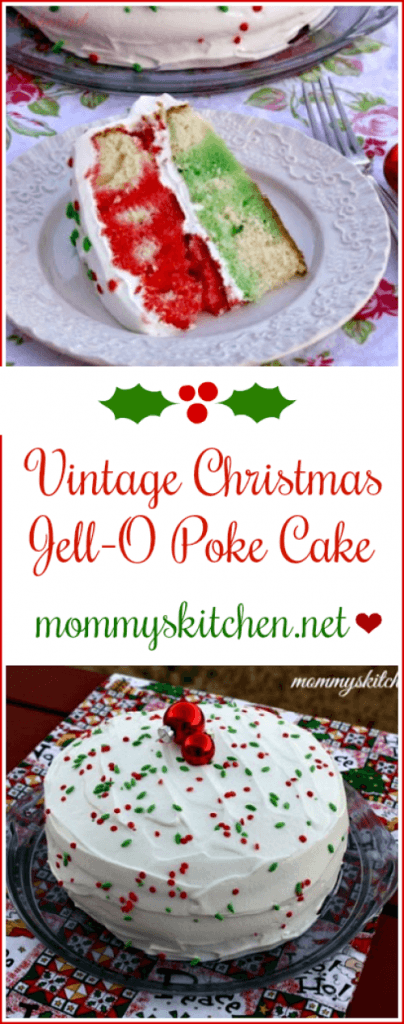 Vintage Christmas Jell-O Poke Cake