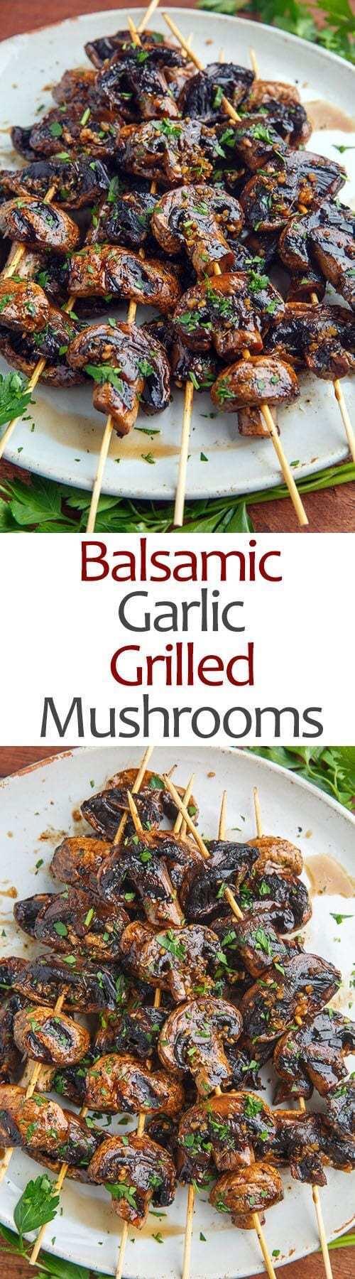 Balsamic Garlic Grilled Mushrooms
