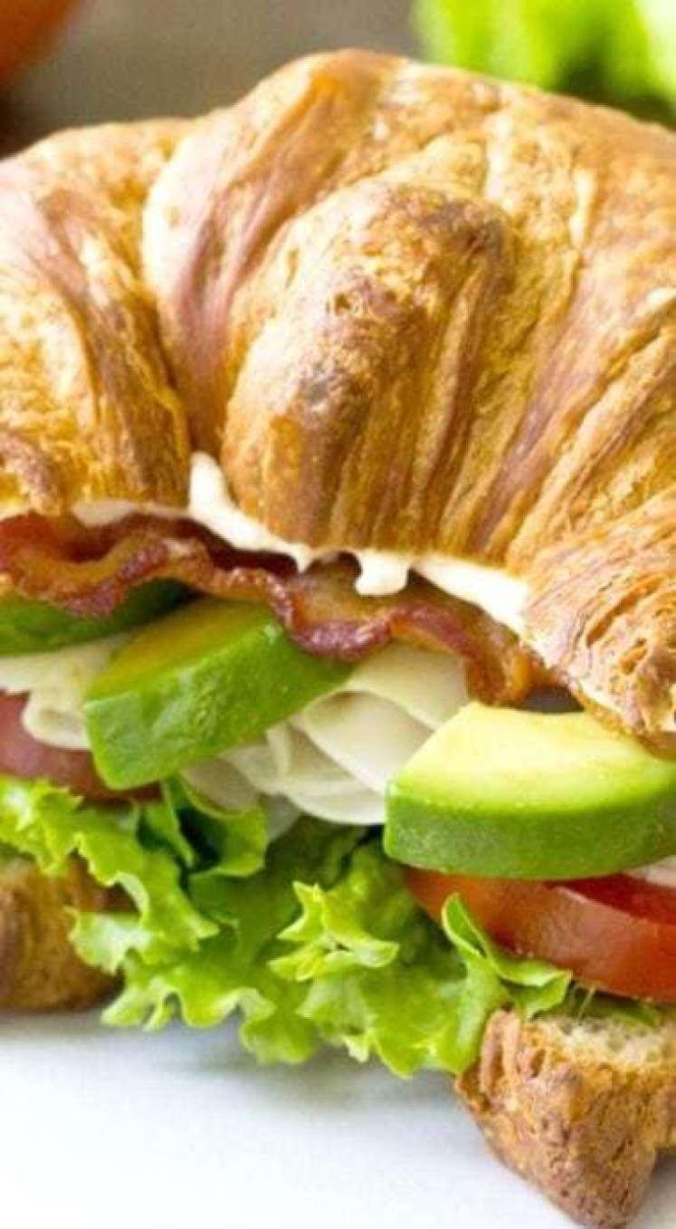 Turkey Avocado BLT Croissant - - 20 Best Croissant Sandwich Recipes